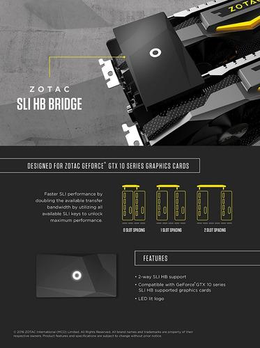 puente nvidia sli hb zotac 1 slot zt-sli0b-10l serie 1000