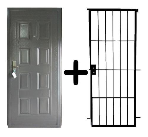 puerta de exterior doble chapa + puerta reja de 12 mm