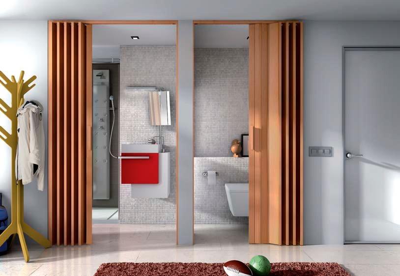 Puerta plegable para ba os ajustable a tus medidas for Puerta corrediza de madera para bano