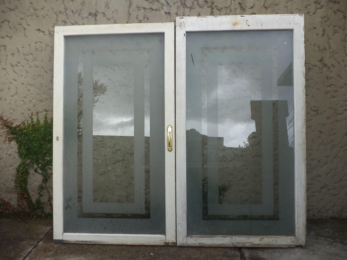 Puertas ventanas madera mampara divisoria vidrio antiguas for Descripcion de puertas de madera