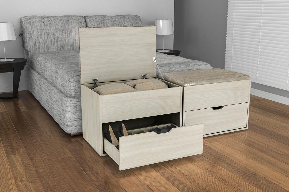 Puff baul pie de cama con caj n asiento silla banco - Pie de cama ...