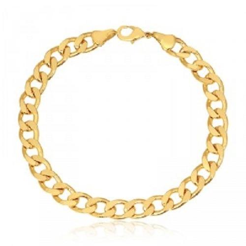 pulseira masculina 10mm banhada ouro modelo grumet