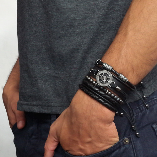 pulseiras masculinas kit c/04 bussola leão +  2 colares