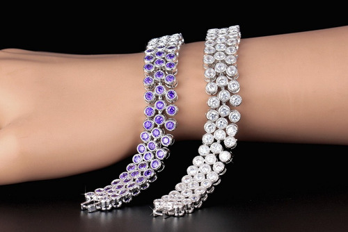pulsera chapa oro blanco con cristales swarovsk novia regalo