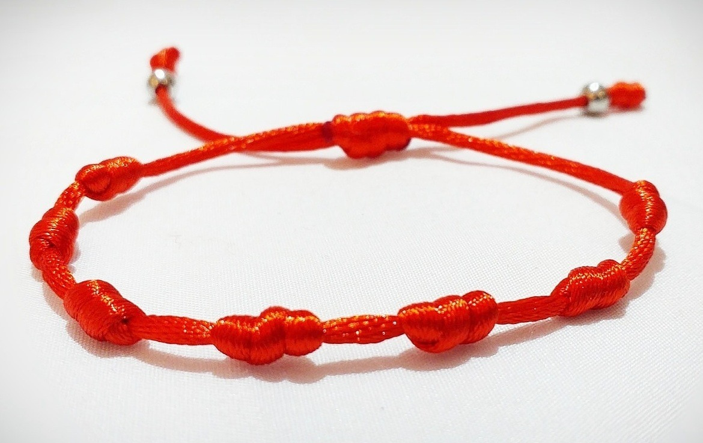 Boutique en ligne 89084 aee15 Pulsera De Hilo Rojo Siete 7 Nudos Con Acero Quirúrgico