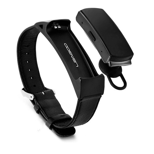 pulsera inteligente talk band b2 ip57 acero/piel negro