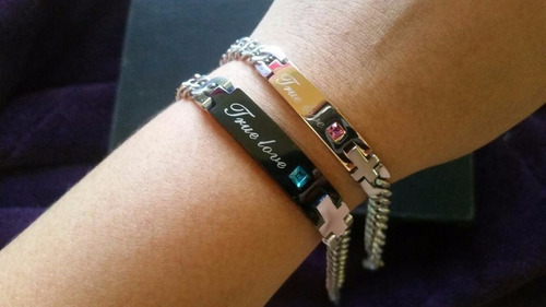 pulseras para parejas true love amor verdadero titanio