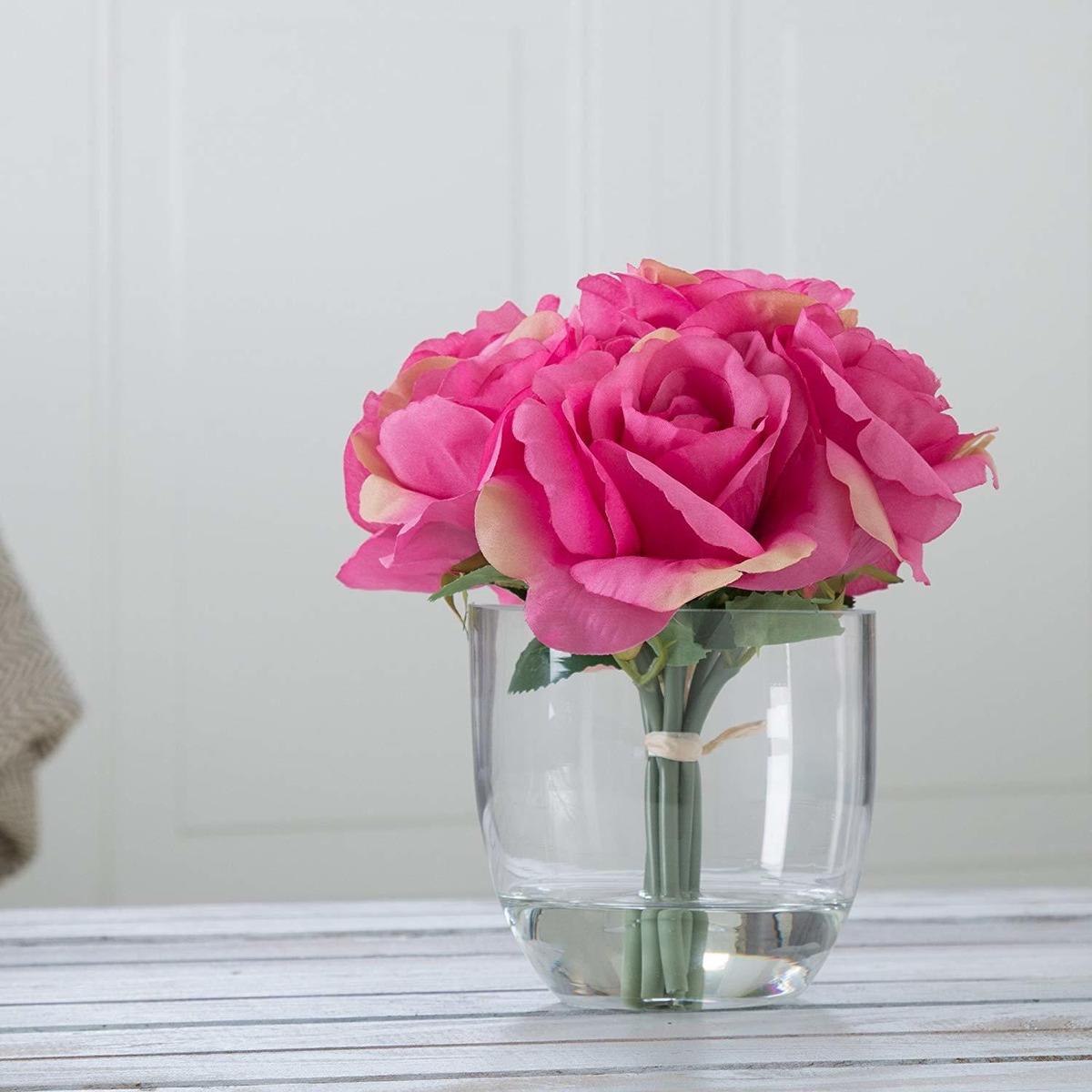 Pure Jardín Rose Arreglo Floral Con Jarrón De Vidrio Col
