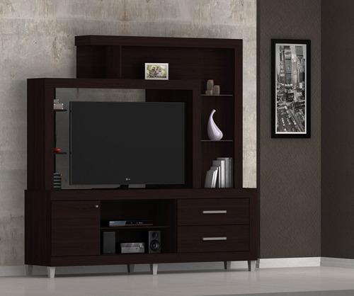 rack modular para televisor audio repisas c/cajón y puertas