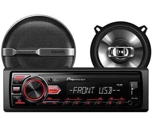radio auto pioneer mvh-85ub + parlantes philips 5 csp-515