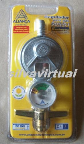 registro / regulador de gás aliança com manômetro  p/ fogão