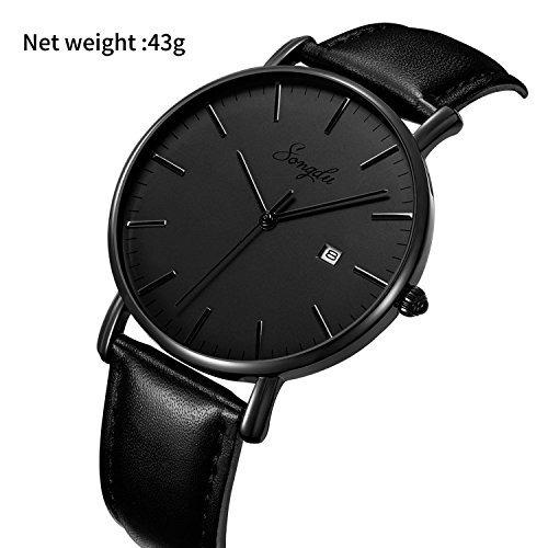 reloj análogo songdu p/hombre, cuarzo, ultra delgado, negro