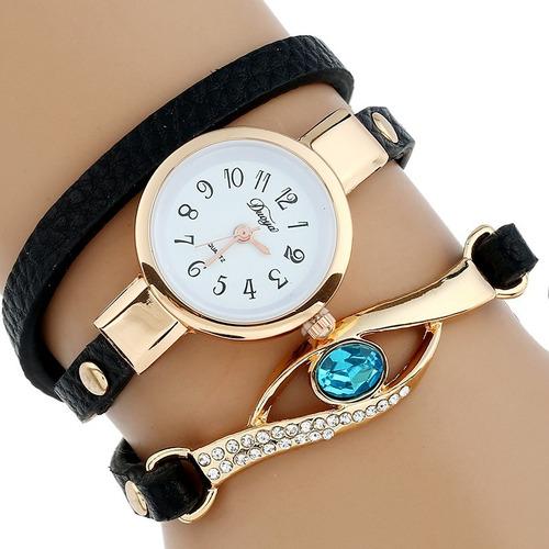 reloj brazalete zafiro azul tacto piel mujer moda dama a568