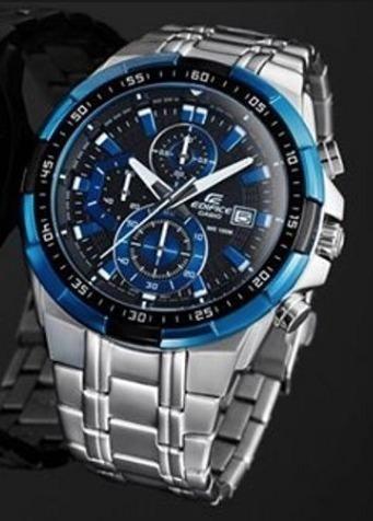 reloj casio edifice ef539  azul, cromdo