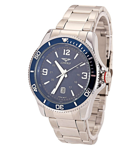 reloj cohro gmt sky men's quartz brass plated and casual