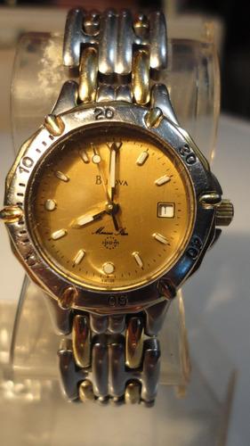 reloj dama suizo bulova quartz combinado  marine star