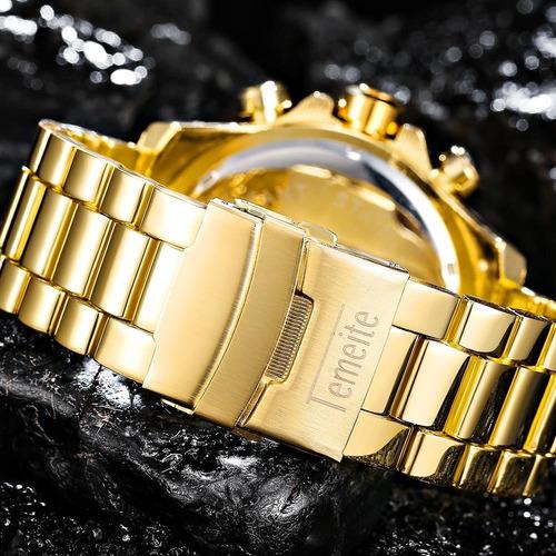 reloj de lujo a cuarzo acero inoxidable temeite