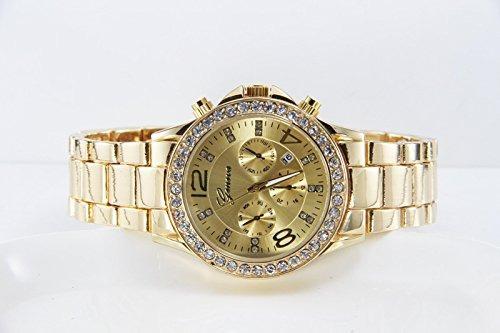 reloj de oro de cuarzo analógico de aleación de lujo gree