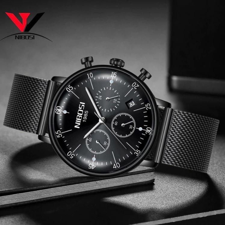 Reloj De Pulsera Para Hombre, Waterproof, Nibosi Color Negro