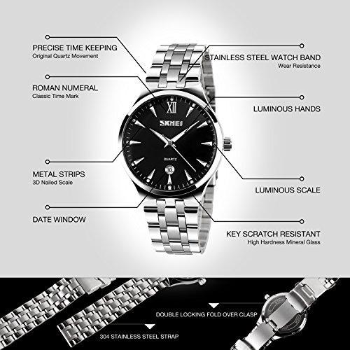 reloj de vestir cuarzo acero inoxidable impermeable p/hombre