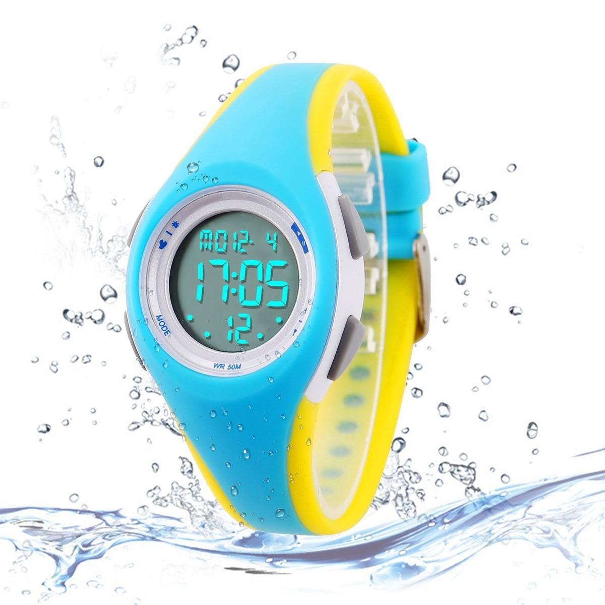 1196a5e4120e reloj deportivo digital para niños reloj impermeable al a. Cargando zoom.