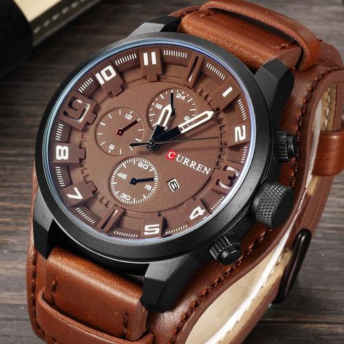 reloj original con malla de cuero maquina japon!!!!