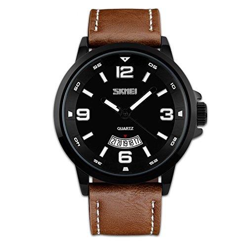 reloj único análogo cuarzo c/correa d/cuero imperm. p/hombre