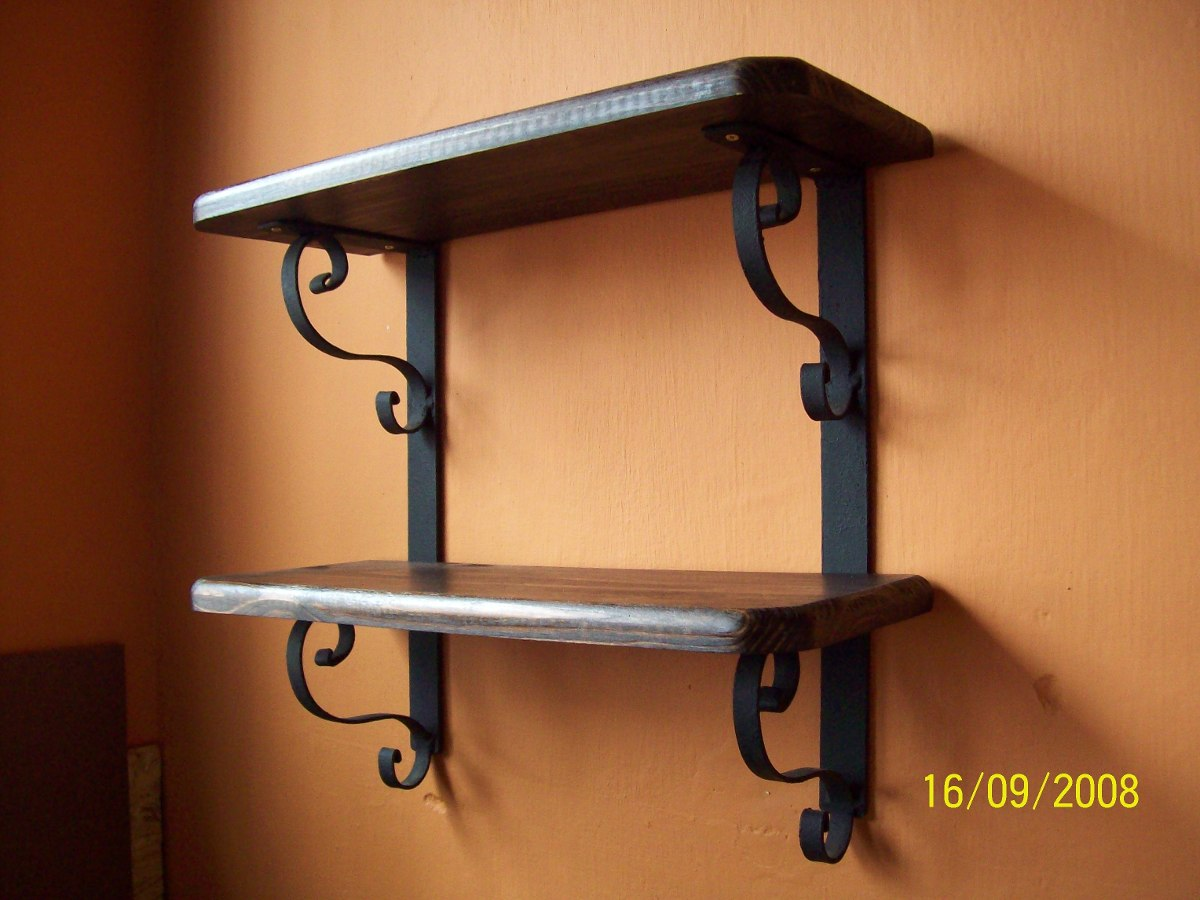 Repisa hierro y madera 900 00 en mercado libre for Repisas rusticas para cocina