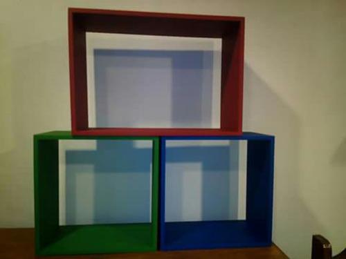 repisas cubos en mdf pintadas,mire descripcion antes de comp