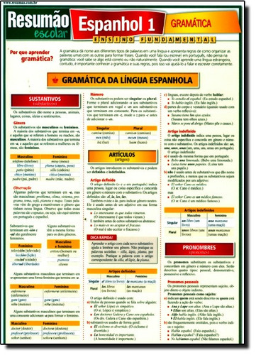 resumão escolar - espanhol 1 - gramática de barros e fisher