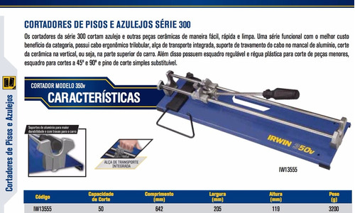 riscadeira/ cortador de pisos e azulejos 350v 50cm irwin