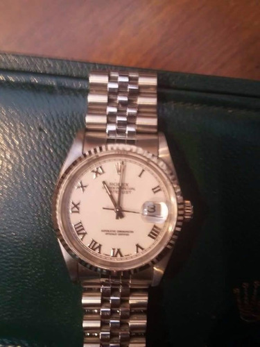 rolex oyster perpetual date 18 k oro blanco acero