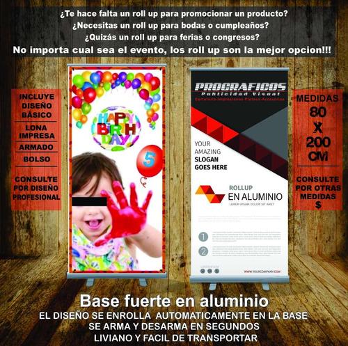 roll-up + lona impresa premium + diseño + bolso