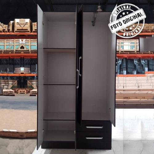 ropero 4 puertas 5 estantes perchero - black dog
