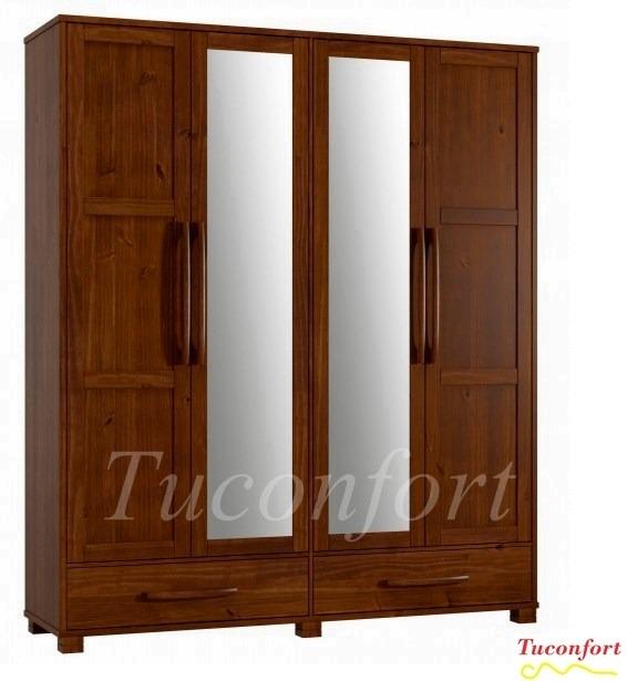 Ropero guarda ropa armario madera maciza dormitorio for Muebles madera maciza uruguay