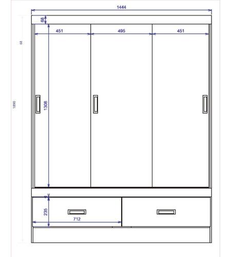 ropero placard 3 puertas corredizas 2 cajones estantes delta