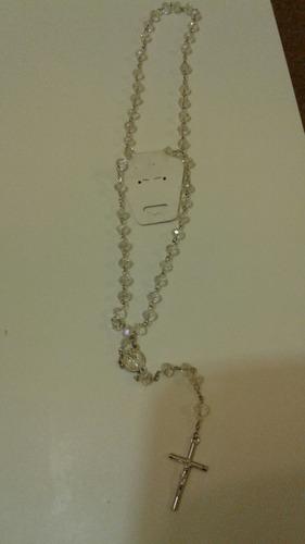 rosario cristal de roca baño de plata