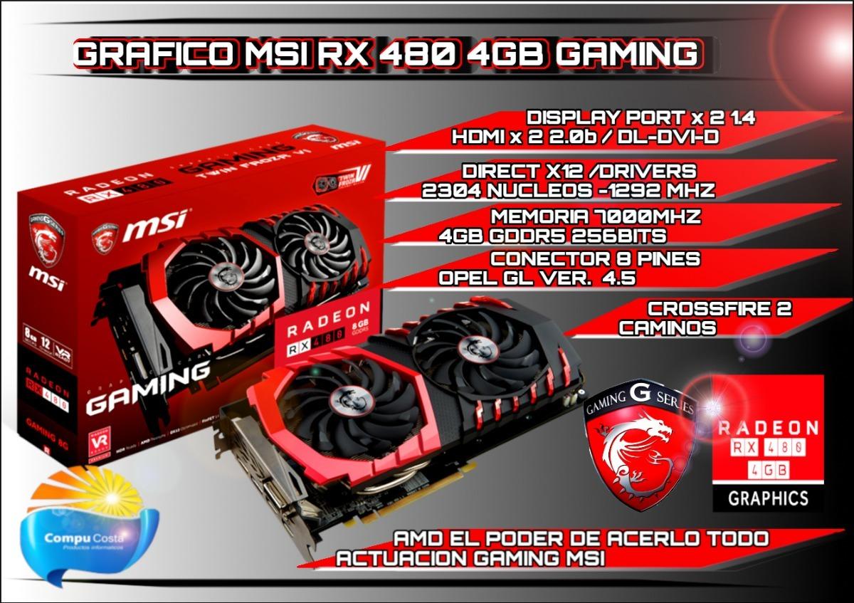 Rx 480 4gb Msi Gddr5 256bits Dual Fan Rgb