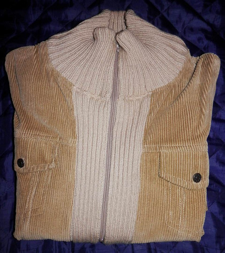 saco largo abrigo pana y lana beige impecable talle m