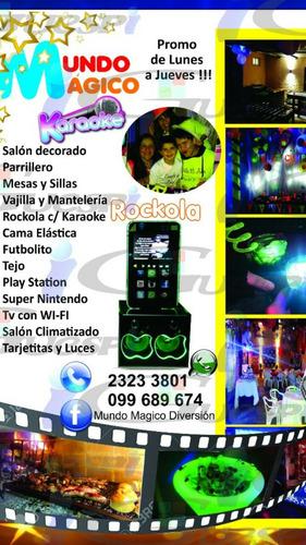 salón de fiestas,pizetas,candy bar, alquiler karaoke rockola