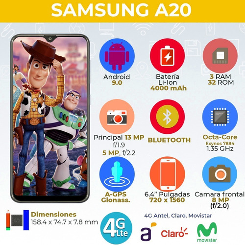 samsung a20 32gb rom/3gb ram  doble cam. + smartwatch bde