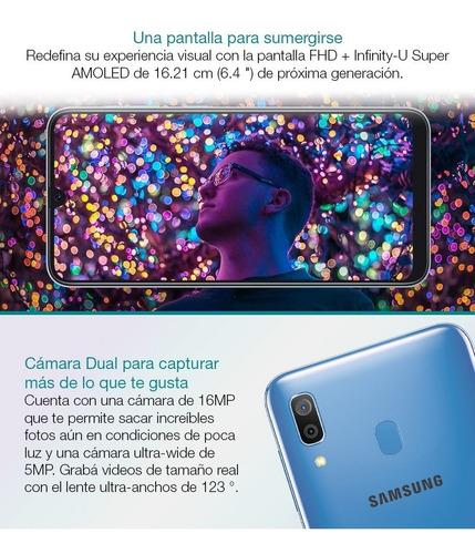 samsung galaxy a30 32gb 3gb oficial + estuche + mochila loi