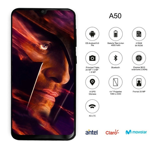 samsung galaxy a50 6.4' 64 /4gb ram triple cám 25/5/8mp  p m