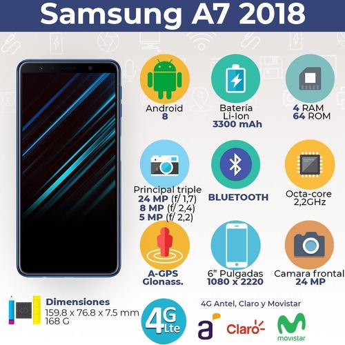 samsung galaxy a7 2018 triple camara 64gb/4 + smartwatch