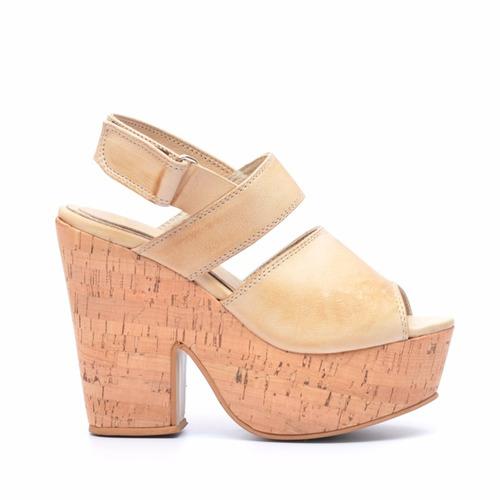 sandalia dama en cuero marcel calzados (cod.17098) natural.