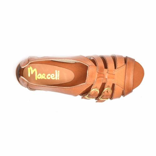 sandalia en cuero marcel calzados (cod.14307) terracota.