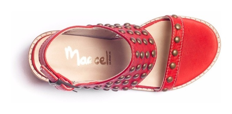 Sandalia En Cuero Marcel Calzados (cod.17064) Rojo.