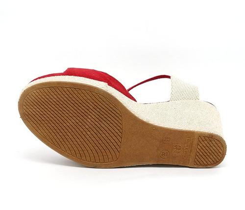 sandália feminina anabela plataforma vermelho (original)