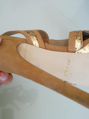 sandalias aldo cuero y lentejuelas