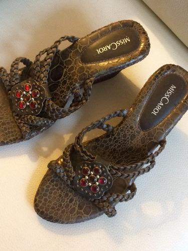 sandalias de dama taco corrido
